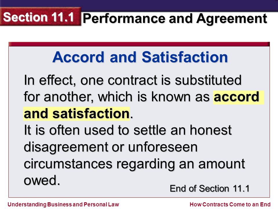 Accord and Satisfaction