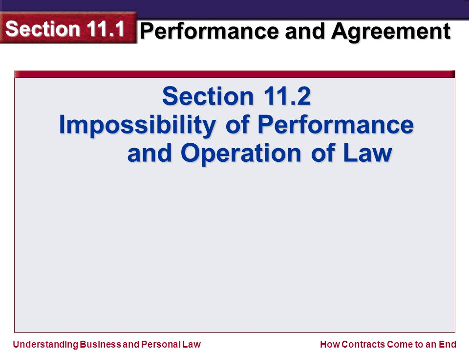 Impossibility of Performance and Operation of Law