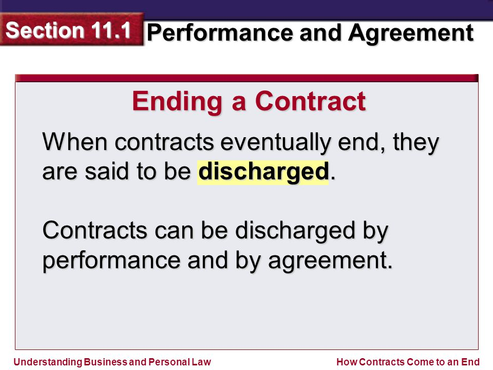 Ending a Contract When contracts eventually end, they are said to be discharged.