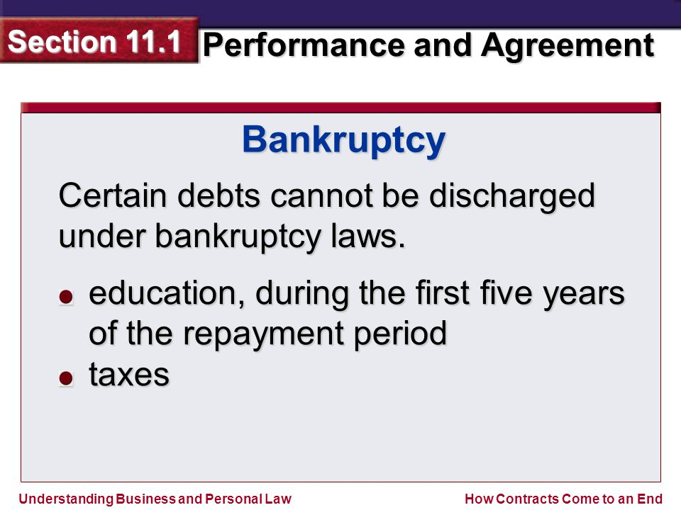 Bankruptcy Certain debts cannot be discharged under bankruptcy laws.