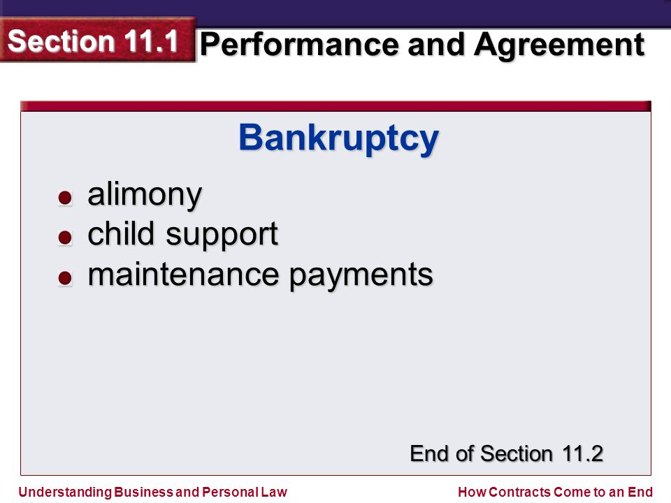 Bankruptcy alimony child support maintenance payments