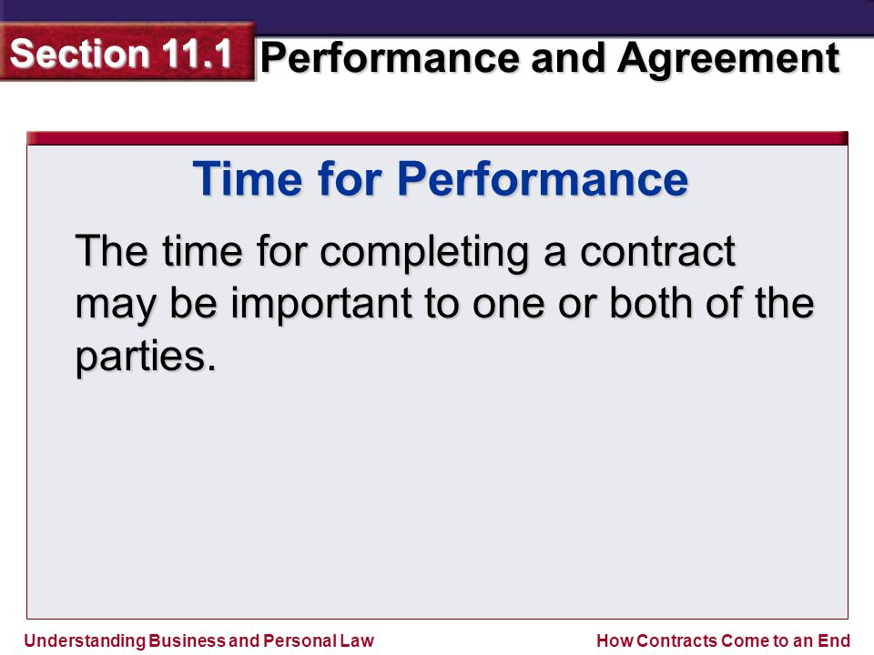 Time for Performance The time for completing a contract may be important to one or both of the parties.