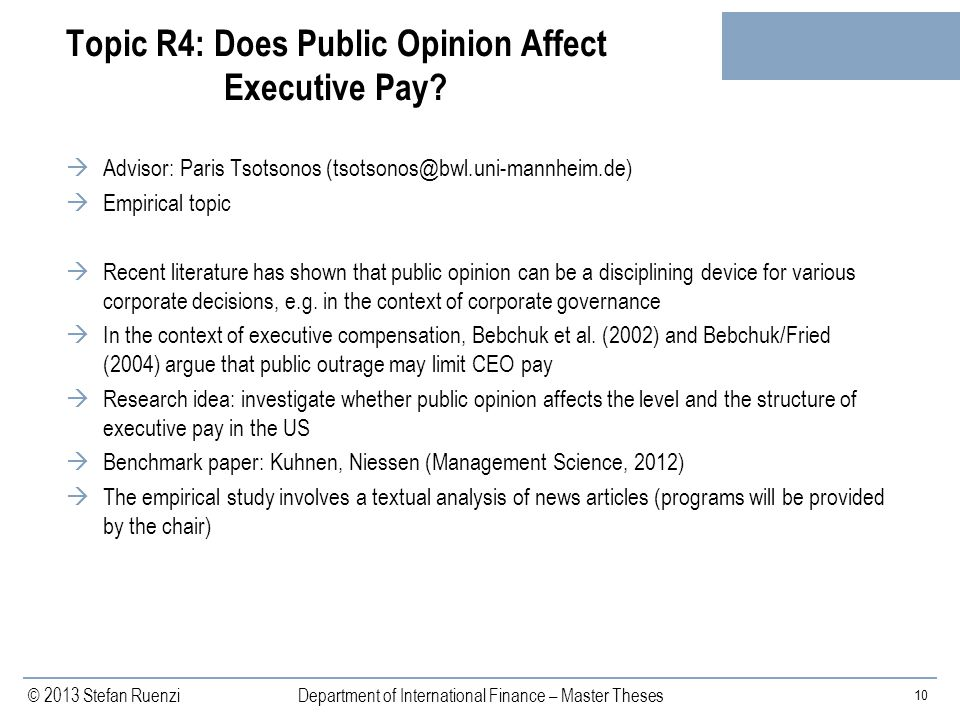 Topic R4: Does Public Opinion Affect Executive Pay