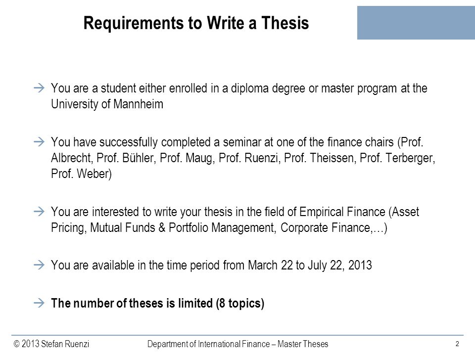 Requirements to Write a Thesis