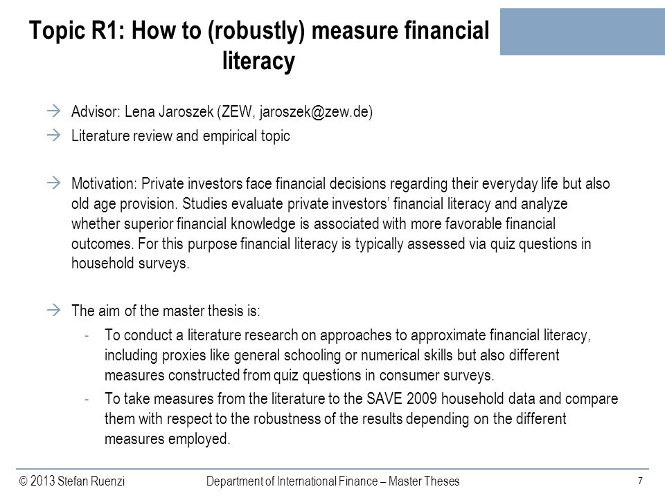 Topic R1: How to (robustly) measure financial literacy