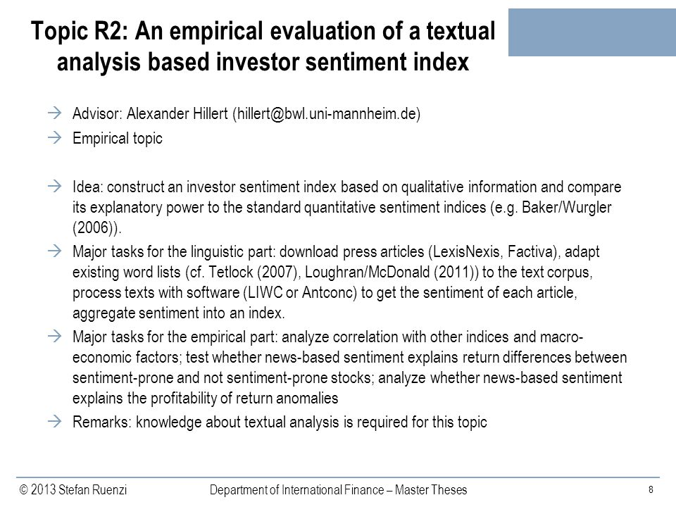 Topic R2: An empirical evaluation of a textual analysis based investor sentiment index