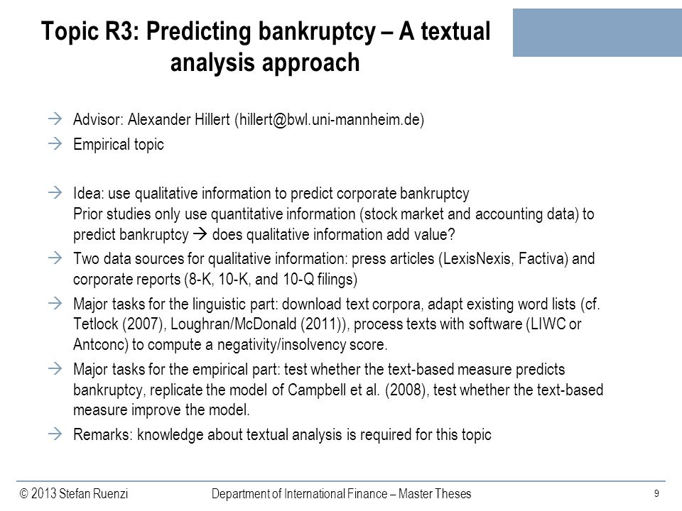 Topic R3: Predicting bankruptcy – A textual analysis approach