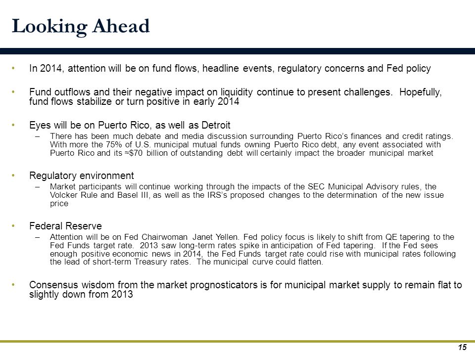 Looking Ahead In 2014, attention will be on fund flows, headline events, regulatory concerns and Fed policy.