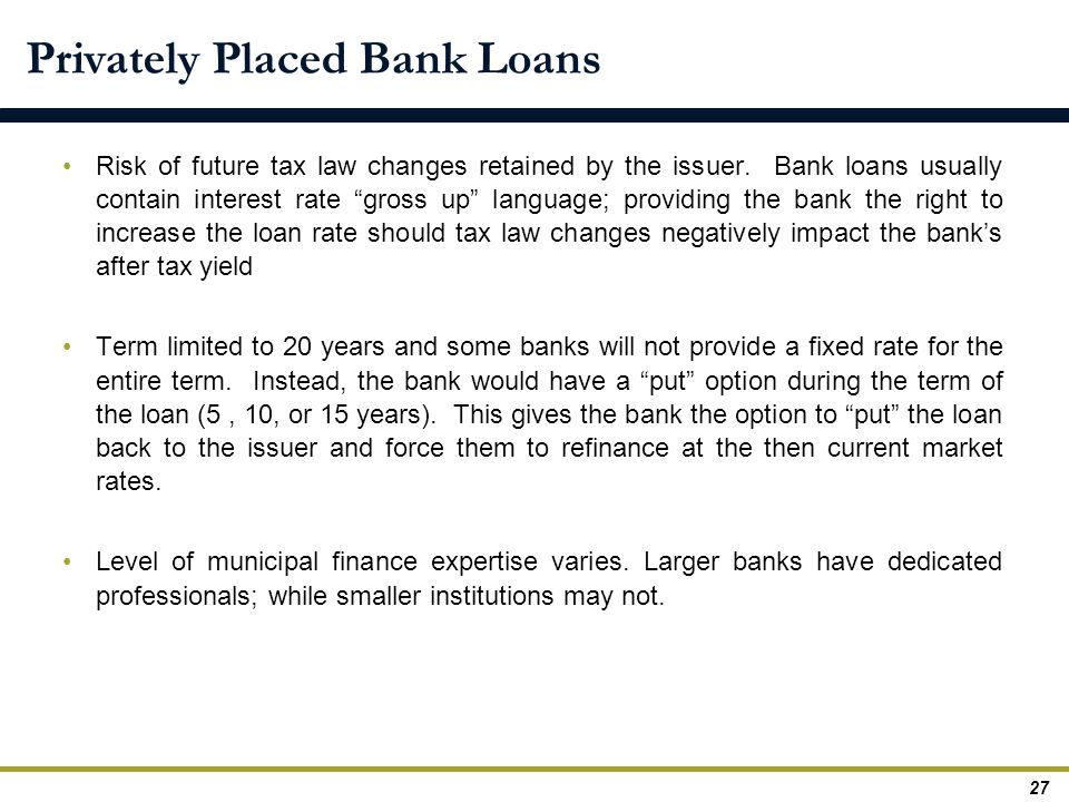 Privately Placed Bank Loans