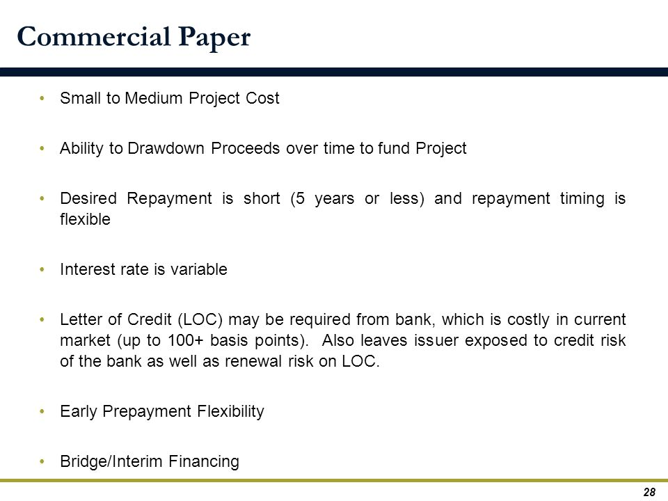 Commercial Paper Small to Medium Project Cost