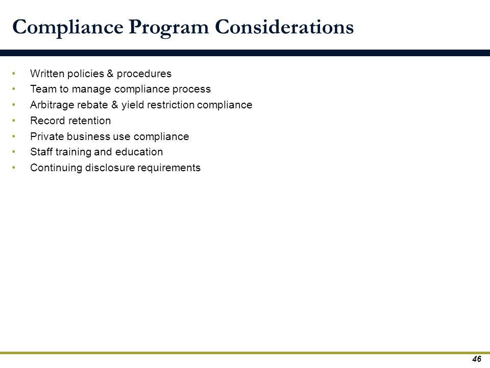 Compliance Program Considerations