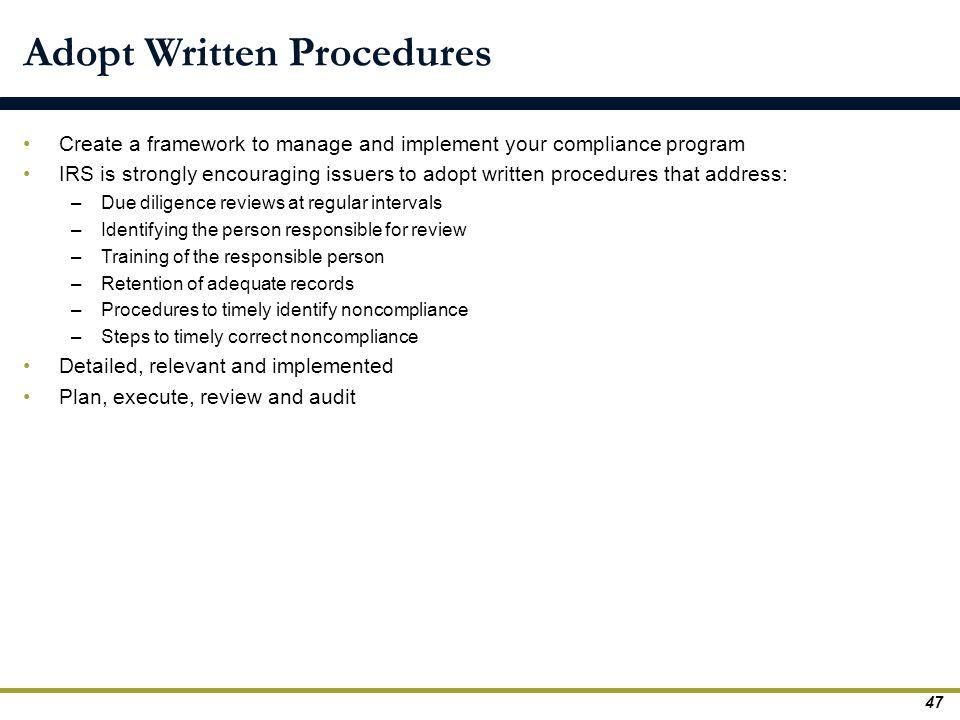 Adopt Written Procedures