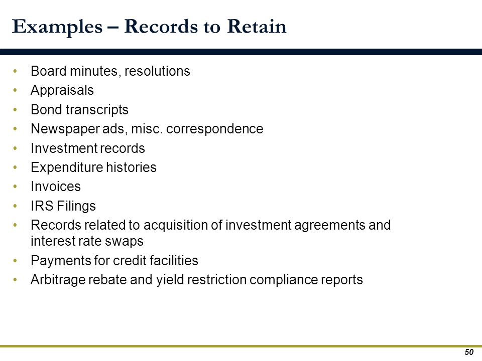 Examples – Records to Retain