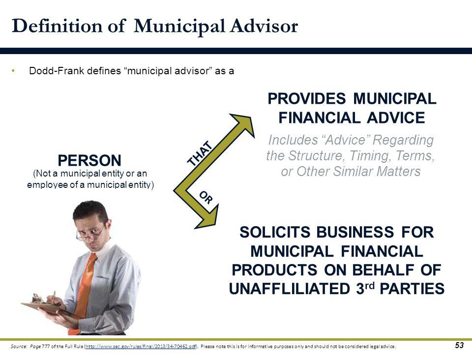 Definition of Municipal Advisor