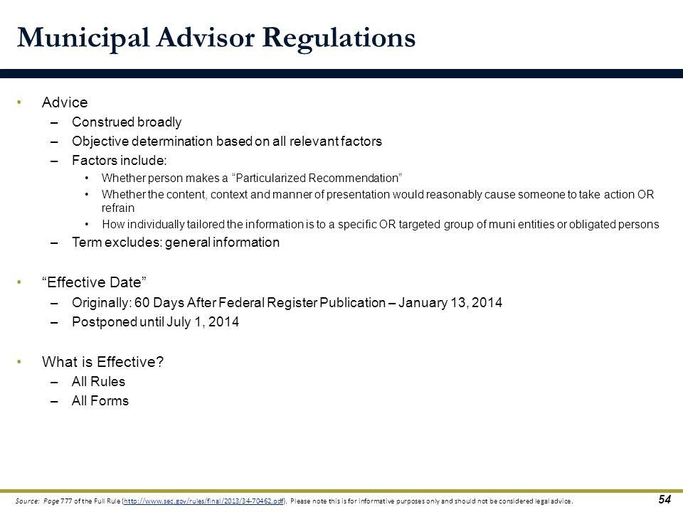 Municipal Advisor Regulations
