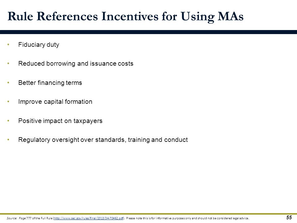 Rule References Incentives for Using MAs