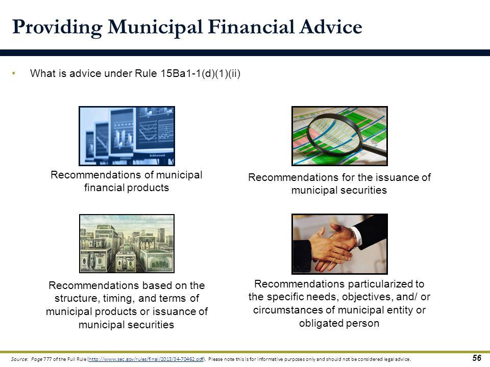 Providing Municipal Financial Advice