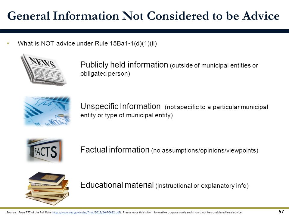 General Information Not Considered to be Advice