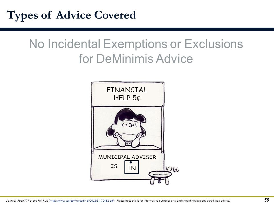Types of Advice Covered