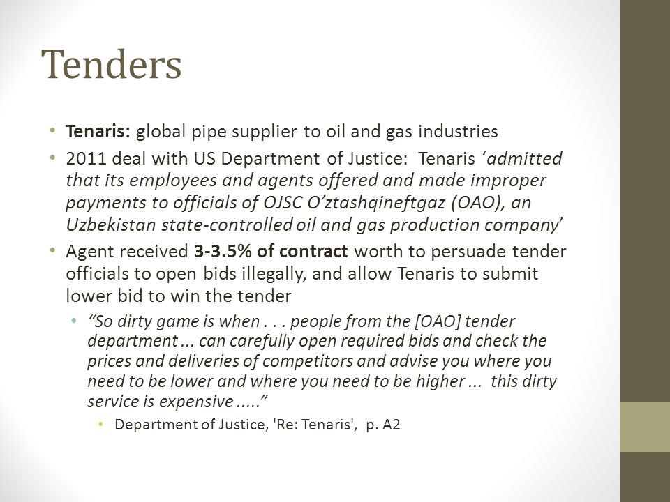 Tenders Tenaris: global pipe supplier to oil and gas industries
