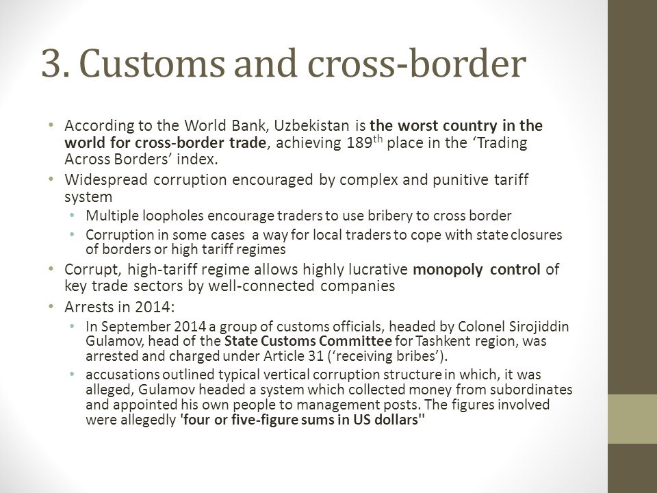 3. Customs and cross-border