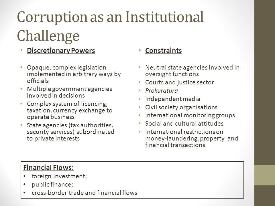 Corruption as an Institutional Challenge