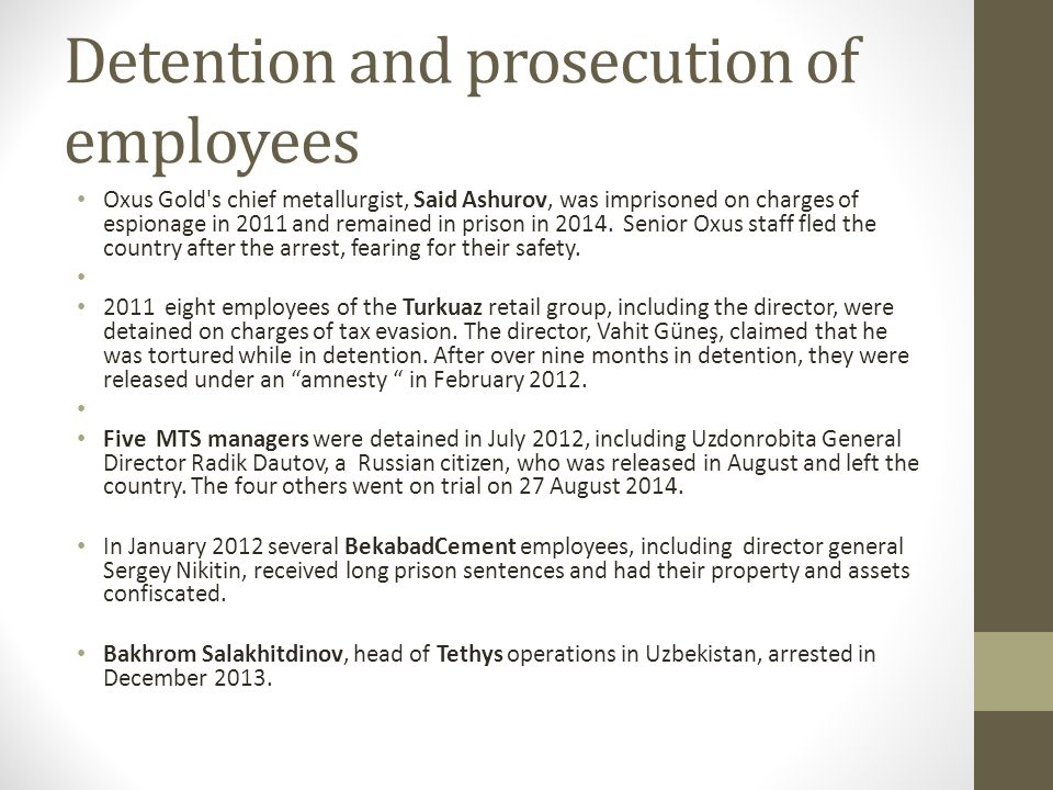 Detention and prosecution of employees