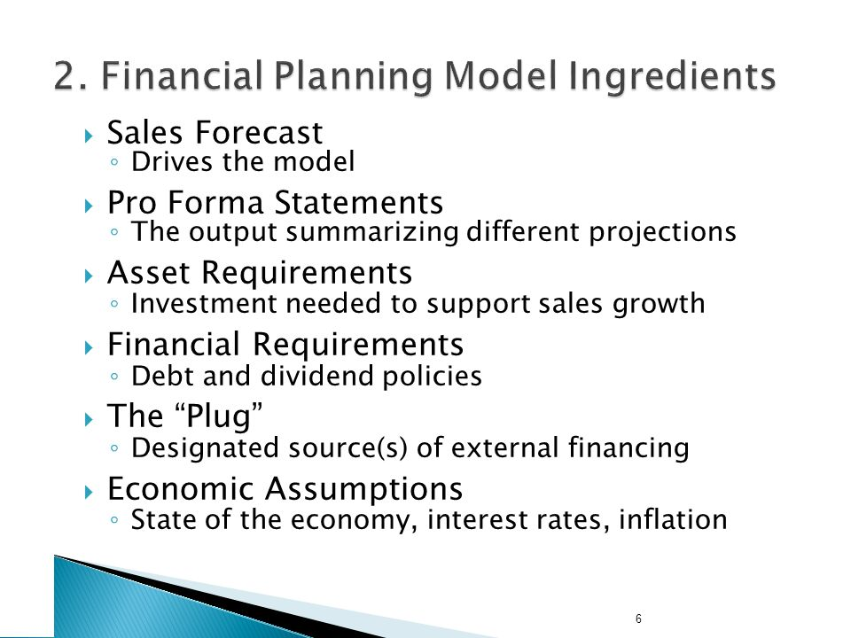 A Simple Financial Planning Model