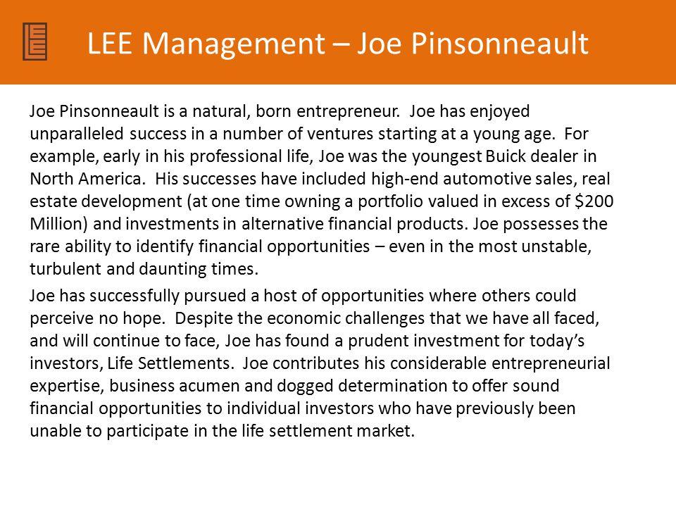 LEE Management – Joe Pinsonneault