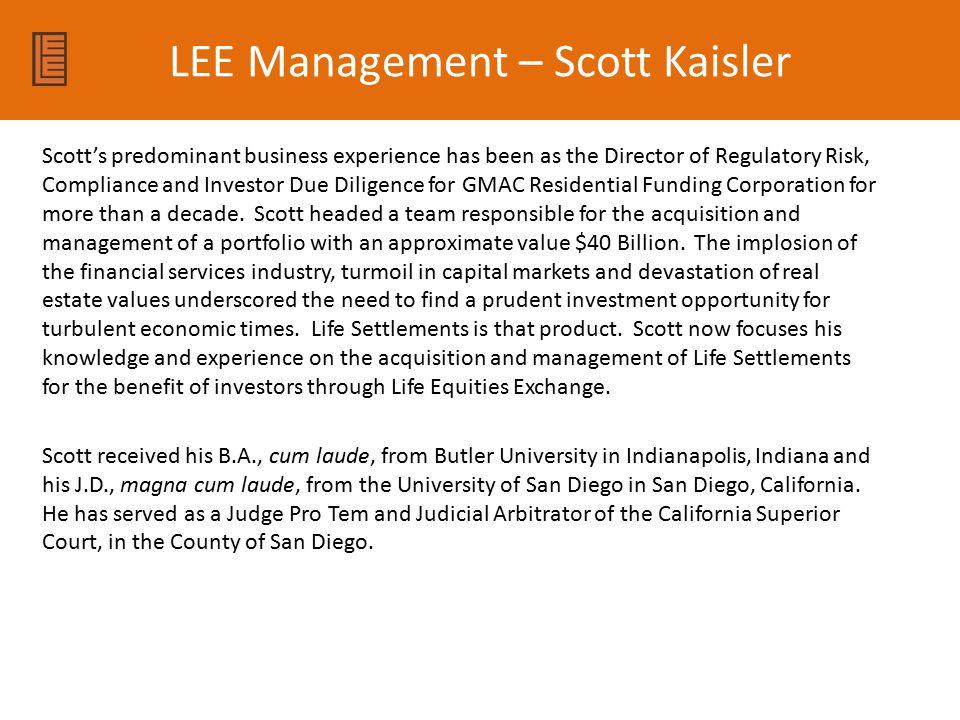 LEE Management – Scott Kaisler