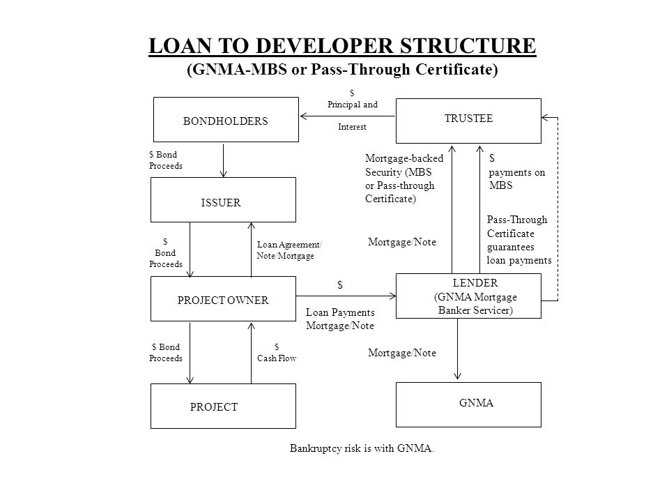 LOAN TO DEVELOPER STRUCTURE (GNMA-MBS or Pass-Through Certificate)