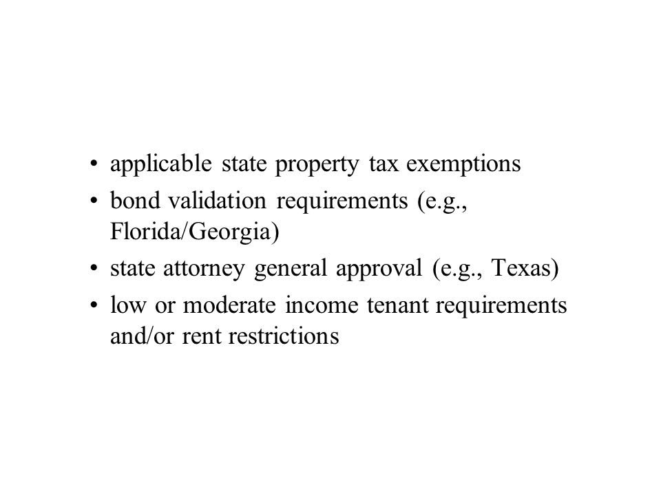 applicable state property tax exemptions