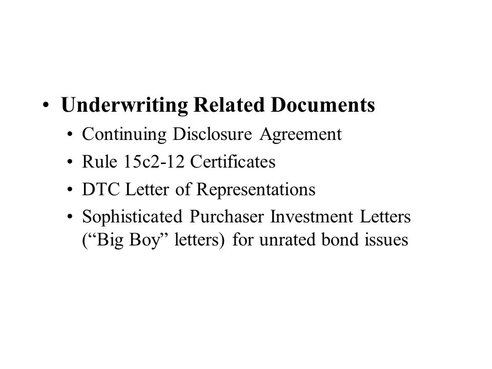 Underwriting Related Documents