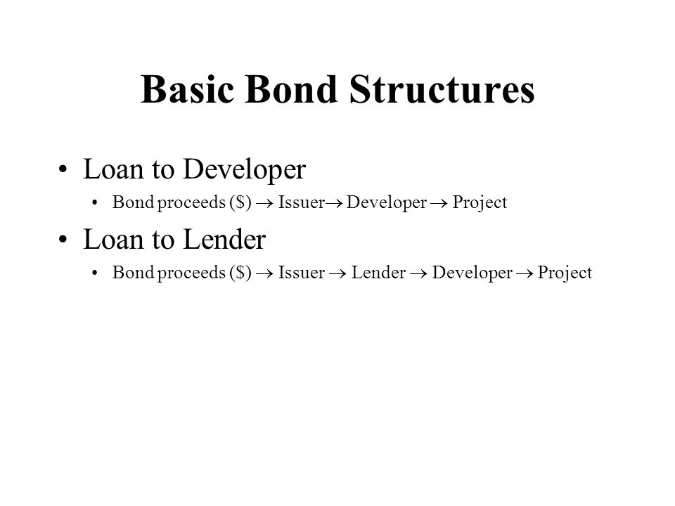 Basic Bond Structures Loan to Developer Loan to Lender