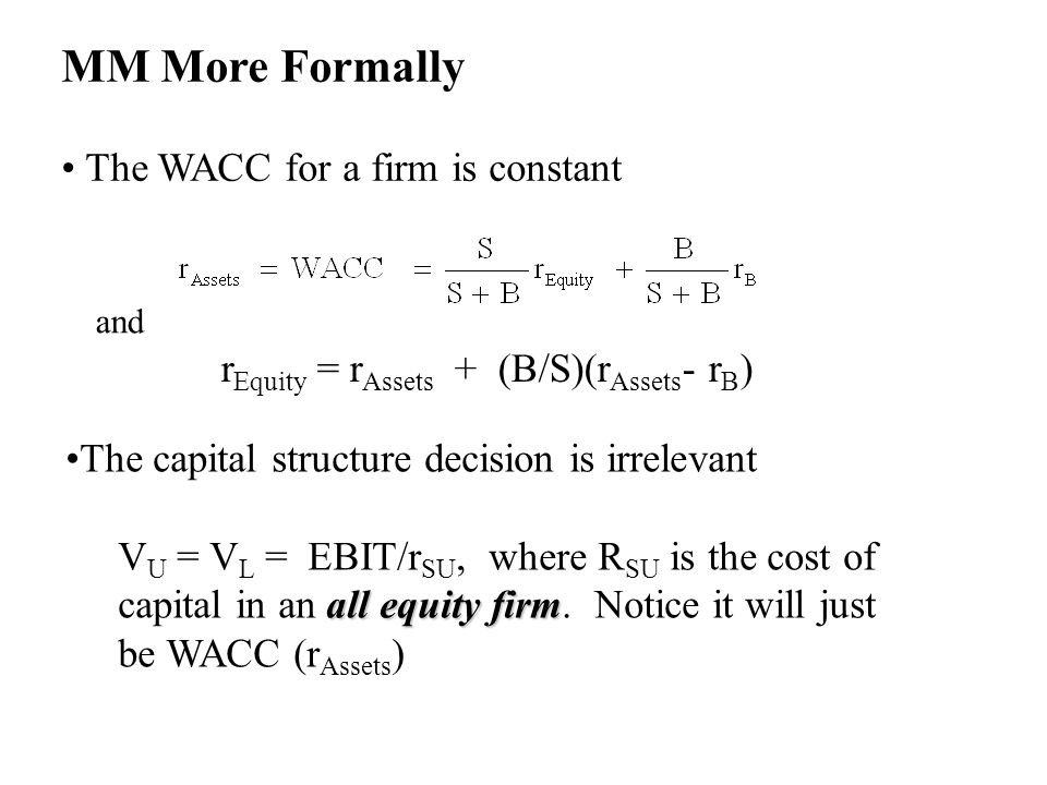 MM More Formally The WACC for a firm is constant