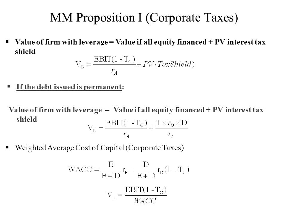 MM Proposition I (Corporate Taxes)