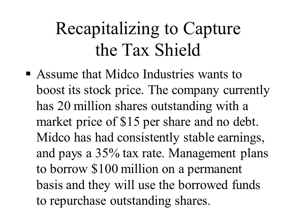 Recapitalizing to Capture the Tax Shield