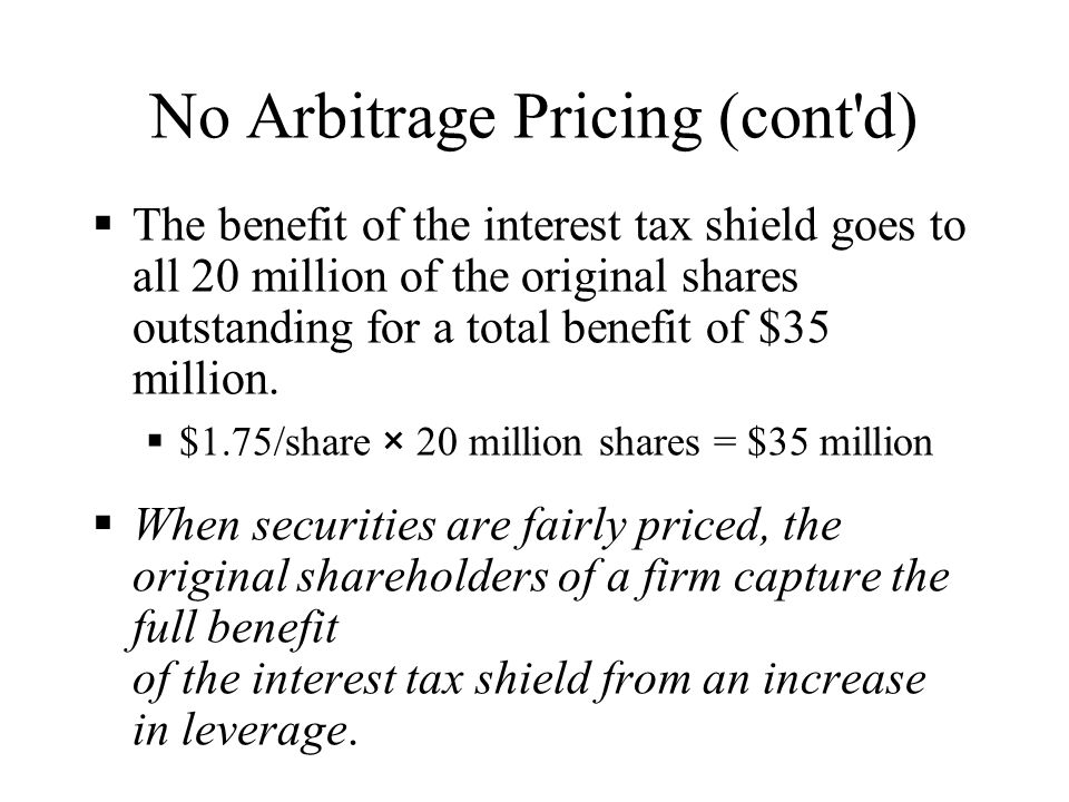 No Arbitrage Pricing (cont d)