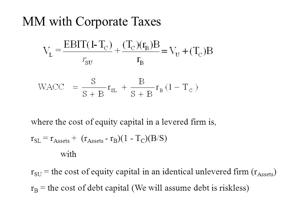 MM with Corporate Taxes