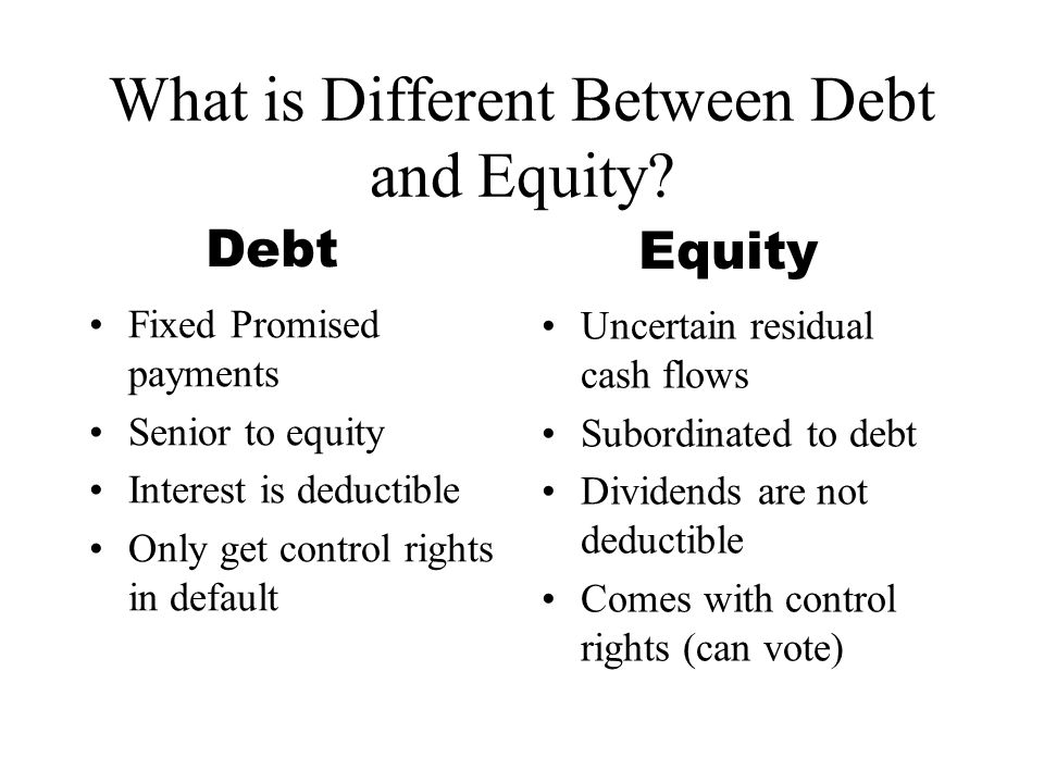 What is Different Between Debt and Equity