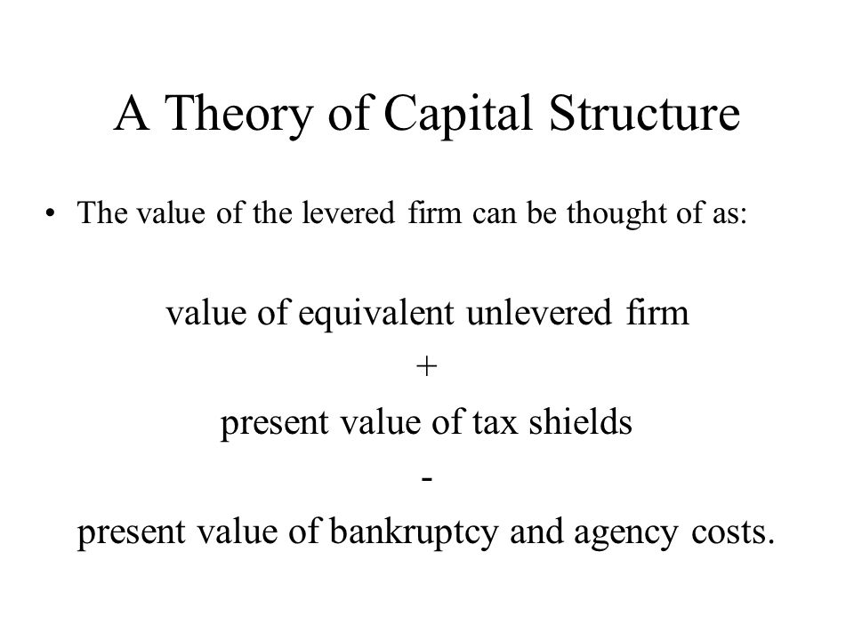 A Theory of Capital Structure