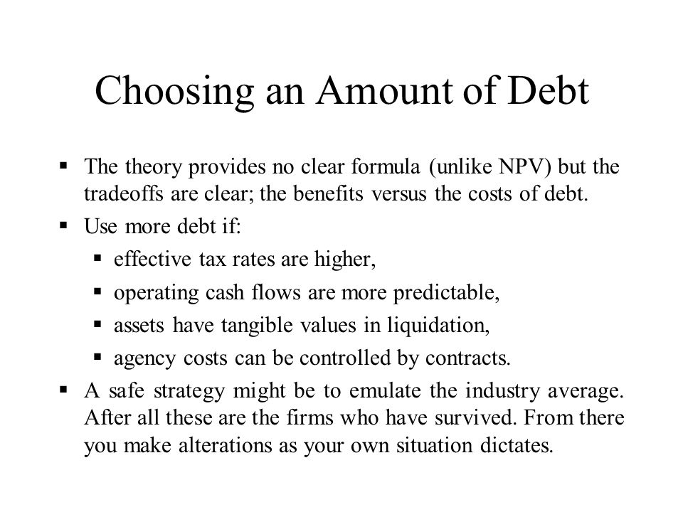 Choosing an Amount of Debt