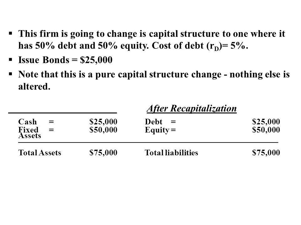 After Recapitalization Cash = $25,000 Debt = $25,000