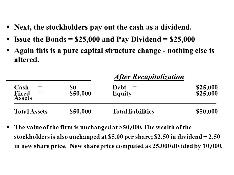 Next, the stockholders pay out the cash as a dividend.