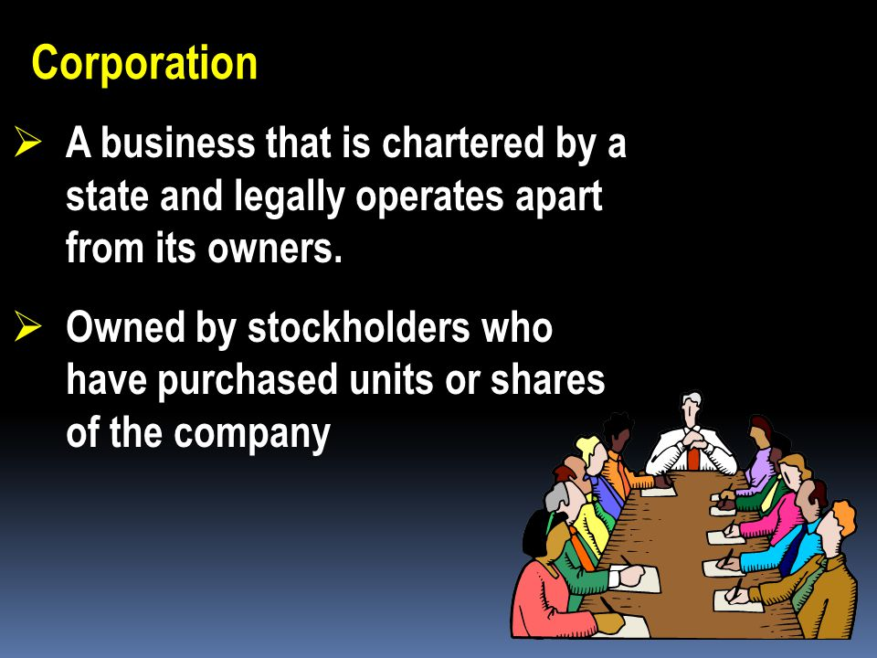 Corporation A business that is chartered by a state and legally operates apart from its owners.