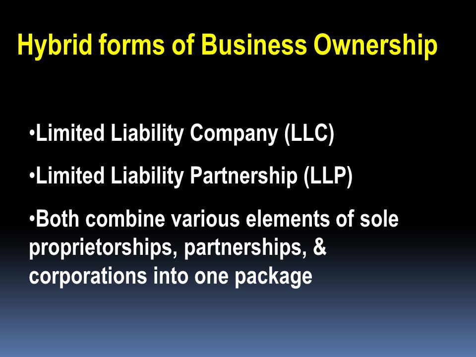 Hybrid forms of Business Ownership
