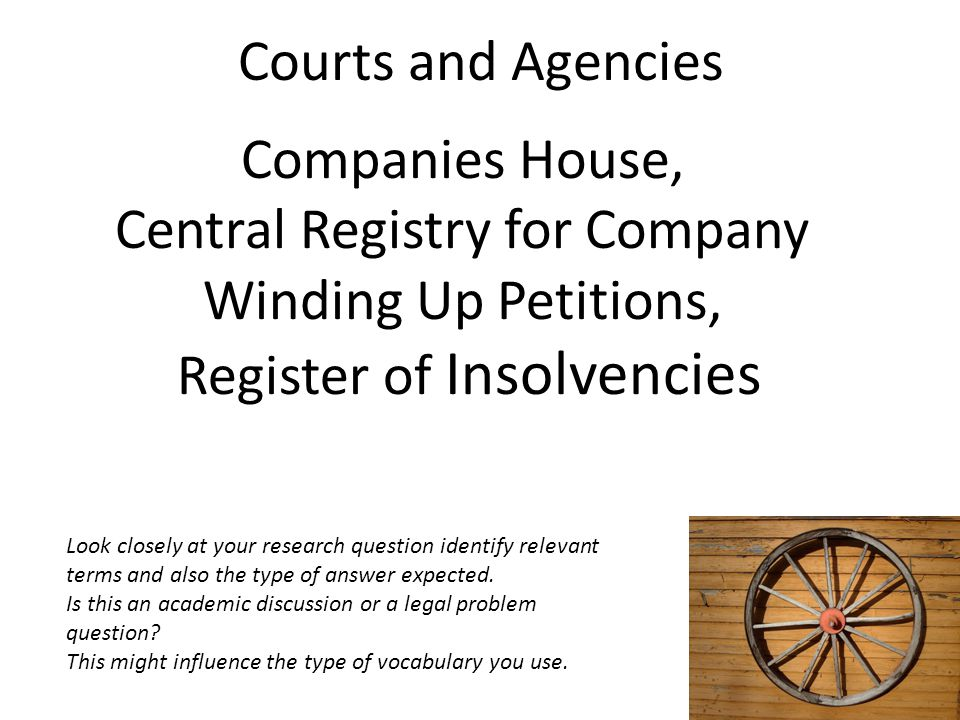 Central Registry for Company Winding Up Petitions,