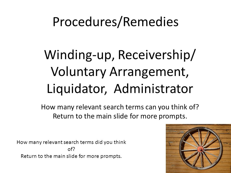 Winding-up, Receivership/ Voluntary Arrangement,