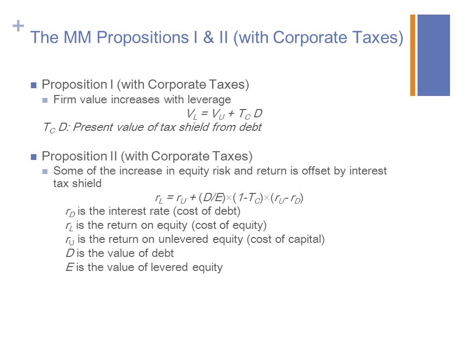 The MM Propositions I & II (with Corporate Taxes)