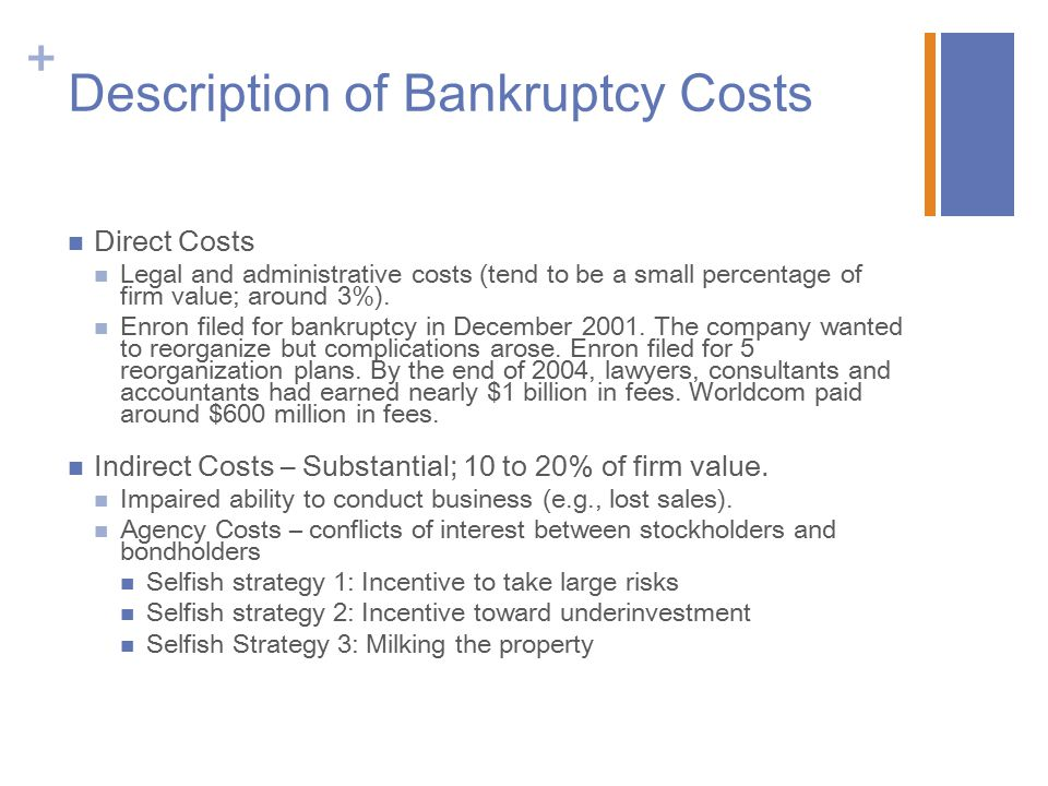 Description of Bankruptcy Costs